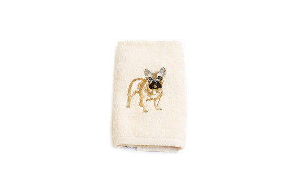 Embroidered French Bulldog Hand Towel