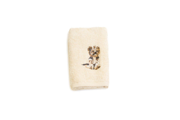 Embroidered Yorkshire Terrier Hand Towel
