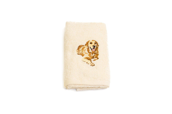 Embroidered Golden Retriever Hand Towel