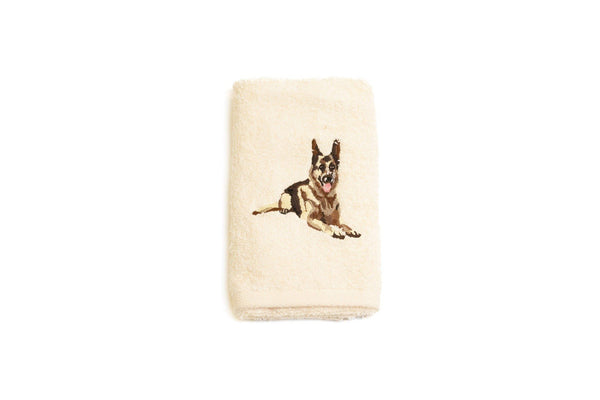 Embroidered German Shepherd Dog Hand Towel