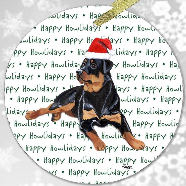 "Rottweiler ""Happy Howlidays"" Ornament"