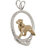Solid 14K Gold Rottweiler in Sterling Silver Leash Pendant