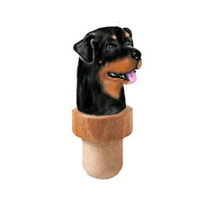 Rottweiler Head Cork Bottle Stopper