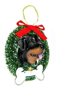 Rottweiler Wreath and Bone Ornament