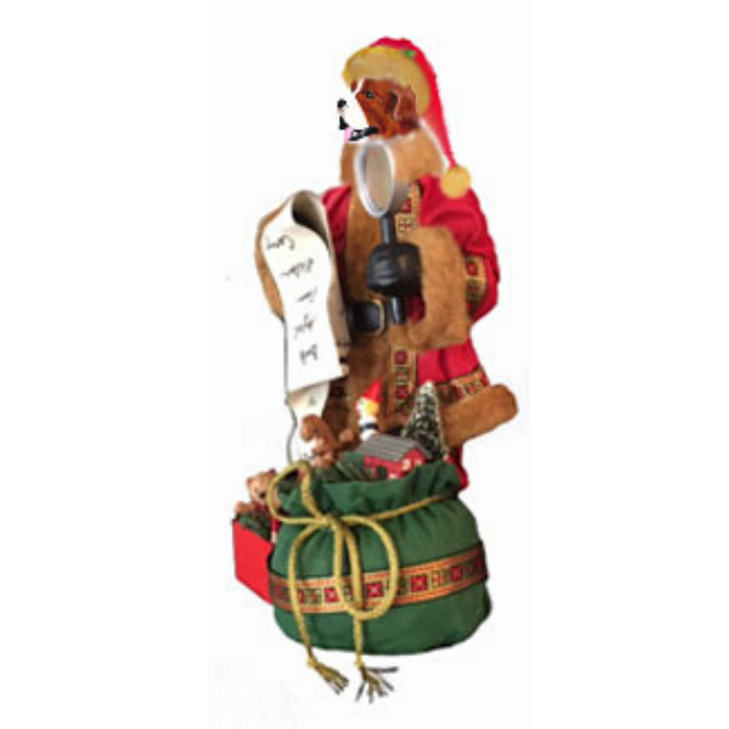 Saint Bernard Toy List Santa Statue