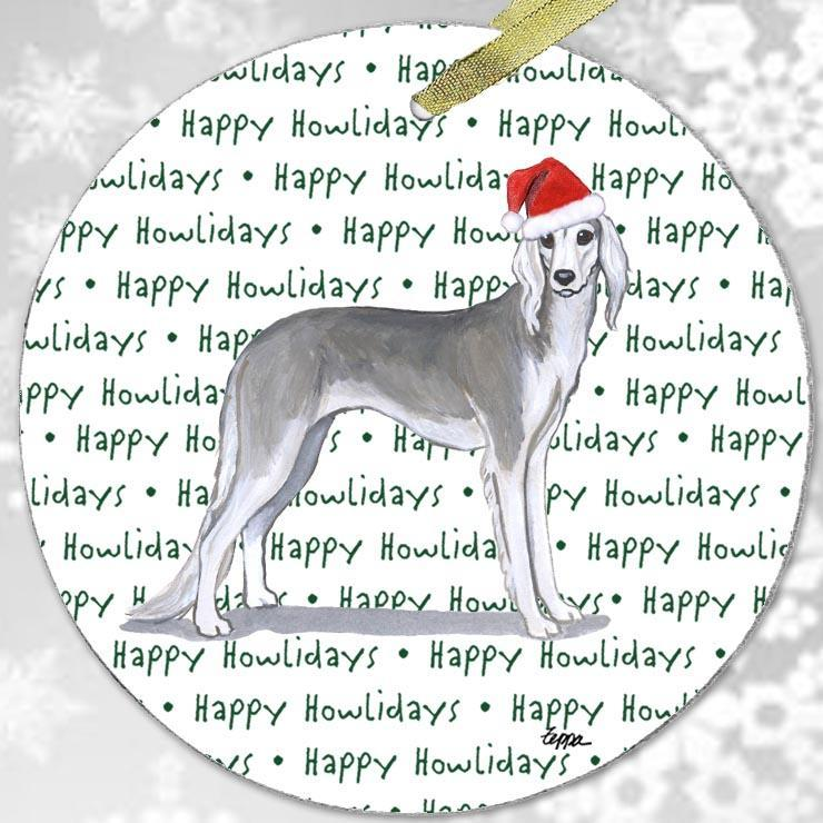 "Saluki ""Happy Howlidays"" Ornament"