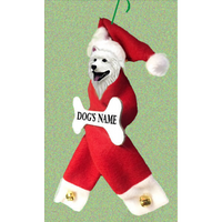 Samoyed Santa Bone Ornament