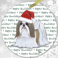 "Shih Tzu, Tan and White ""Happy Howlidays"" Ornament"