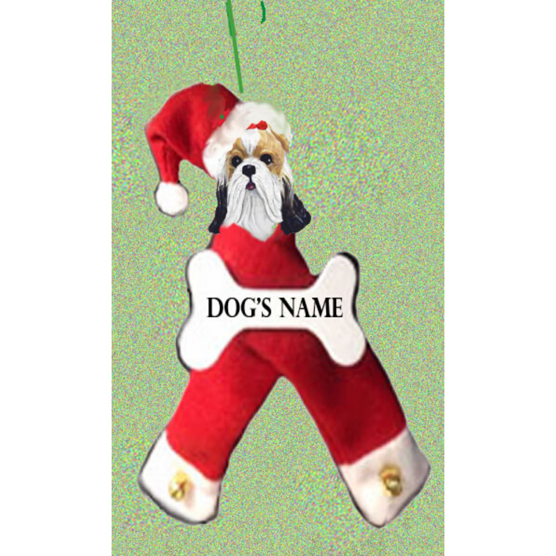 Shih Tzu Santa Bone Ornament