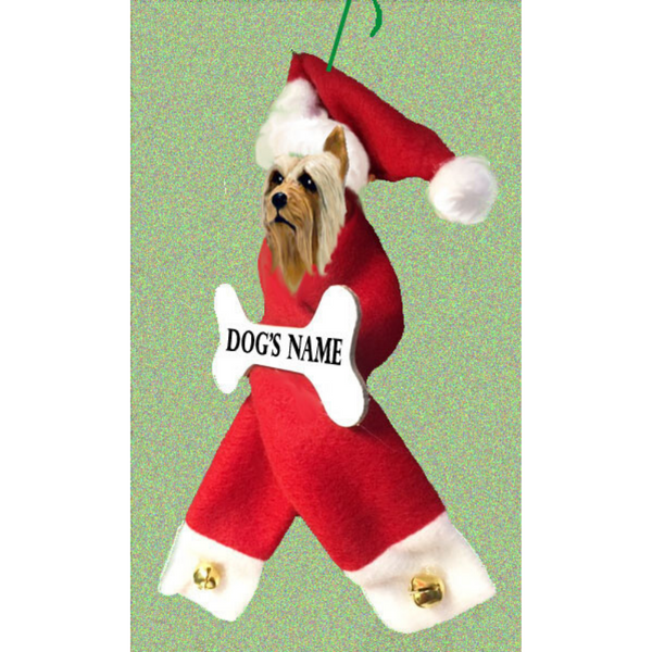 Silky Terrier Santa Bone Ornament