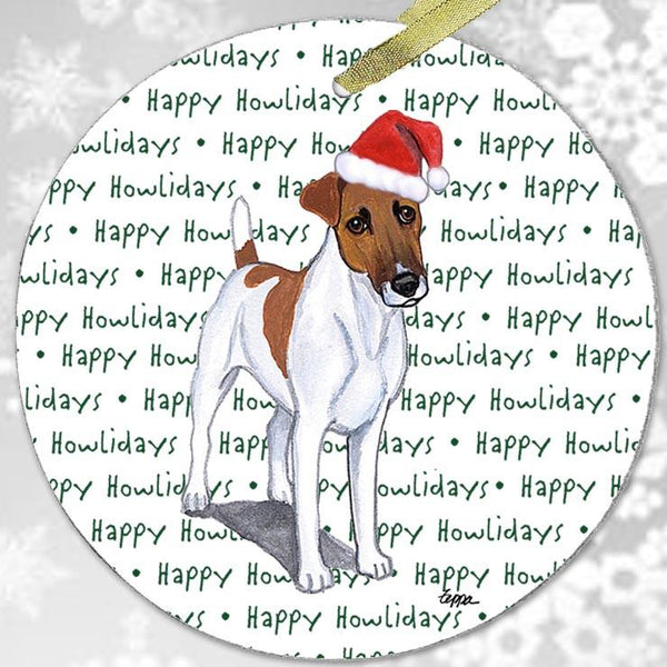 "Smooth Fox Terrier ""Happy Howlidays"" Ornament"