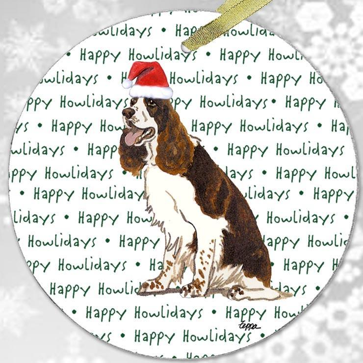 "English Springer Spaniel, Liver and White ""Happy Howlidays"" Ornament"