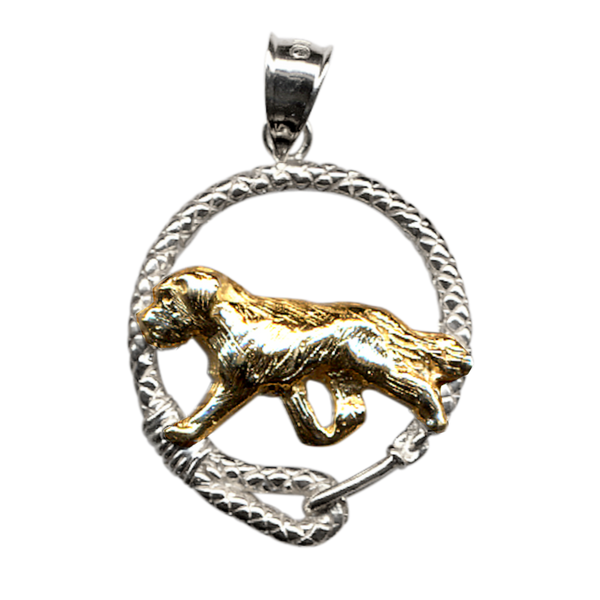 Solid 14K Gold Saint Bernard in Sterling Silver Leash Pendant