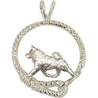 Samoyed in Solid Sterling Silver Leash Pendant