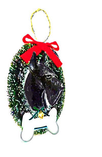 Scottish Terrier Wreath and Bone Ornament