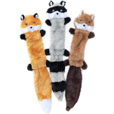 ZippyPaws Skinny Peltz No Stuffing Squeaky Plush Dog Toys, 3-pack, Large