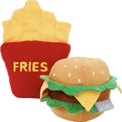 Frisco Plush Squeaking Burger and Fries Dog Toy, 2-Pack