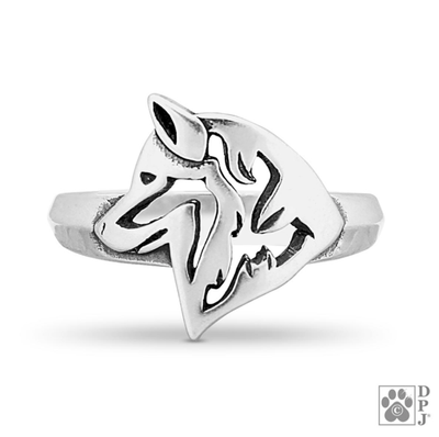 Siberian Husky, Head, Sterling Silver Ring