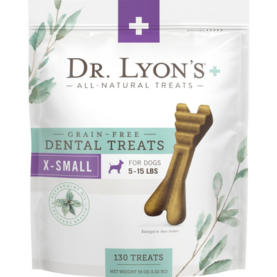 Dr. Lyon's Grain-Free Mint Flavored Extra Small Breed Dental Dog Treats, 130 count