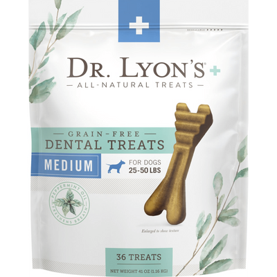 Dr. Lyon's Grain-Free Mint Flavored Medium Dental Dog Treats, 36 count