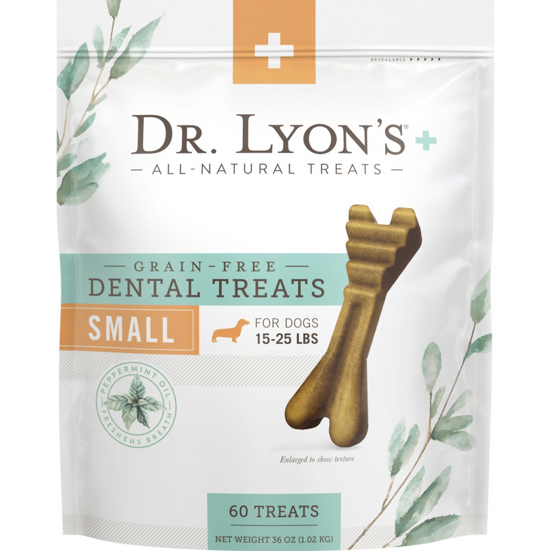 Dr. Lyon's Grain-Free Mint Flavored Small Dental Dog Treats, 60 count