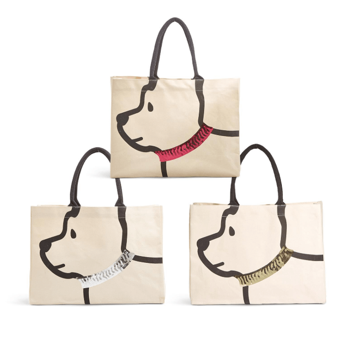 Sequin Collared Dog Canvas Tote Bag