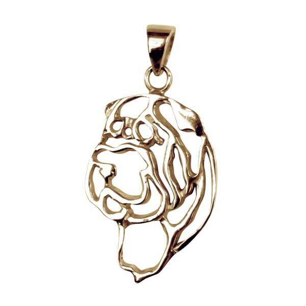 Chinese Shar Pei 14K Gold Cut Out Pendant