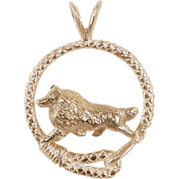 Solid 14K Gold Shetland Sheepdog Leash Pendant