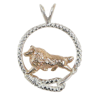 Solid 14K Gold Shetland Sheepdog in Sterling Silver Leash Pendant
