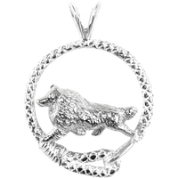 Shetland Sheepdog in Solid Sterling Silver Leash Pendant