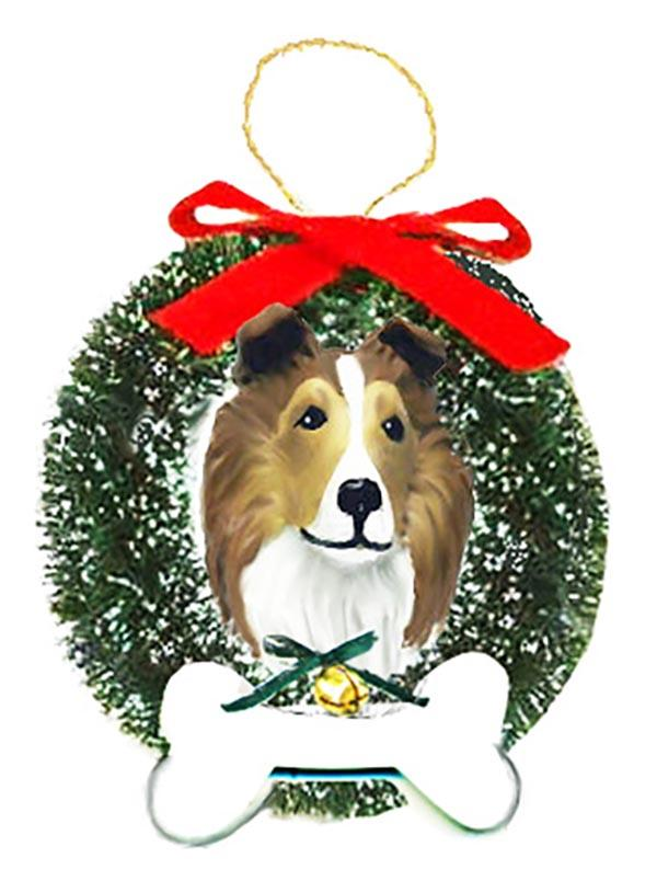 Shetland Sheepdog Wreath and Bone Ornament