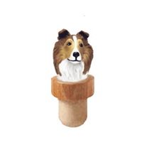 Shetland Sheepdog Head Cork Bottle Stopper
