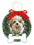 Shih Tzu Wreath and Bone Ornament