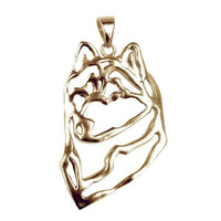 Siberian Husky  14K Gold Cut Out Pendant