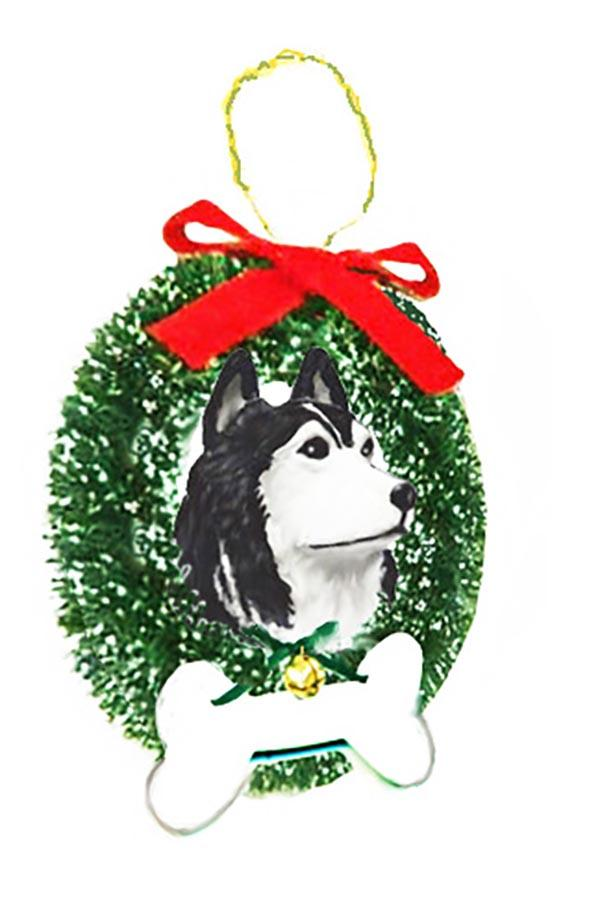 Siberian Husky Wreath and Bone Ornament