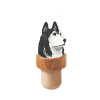 Siberian Husky Head Cork Bottle Stopper