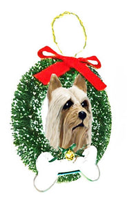 Silky Terrier Wreath and Bone Ornament