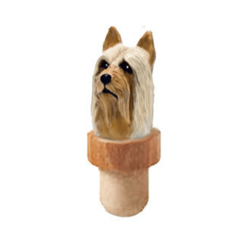 Silky Terrier Head Cork Bottle Stopper