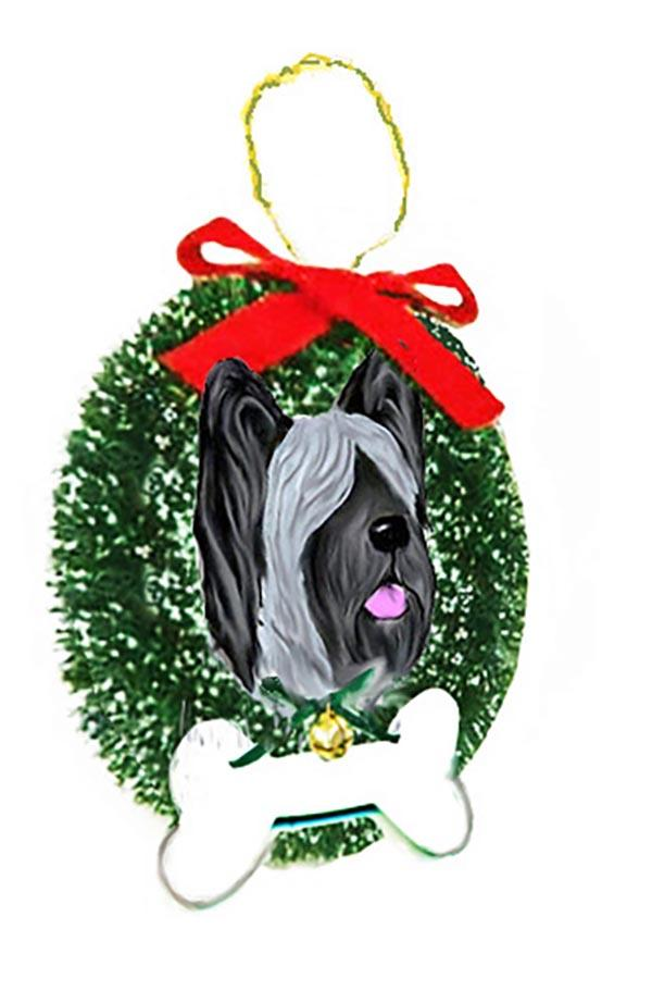 Skye Terrier Wreath and Bone Ornament