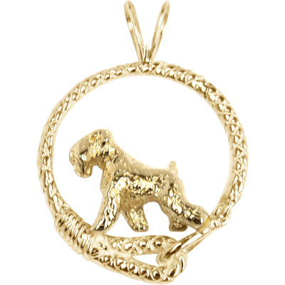 Solid 14K Gold Soft Coated Wheaten Terrier Leash Pendant