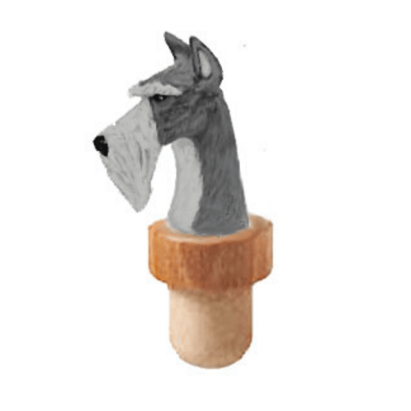 Standard Schnauzer Head Cork Bottle Stopper