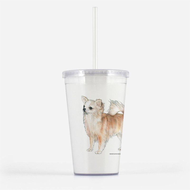 Longhaired Chihuahua Beverage Tumbler