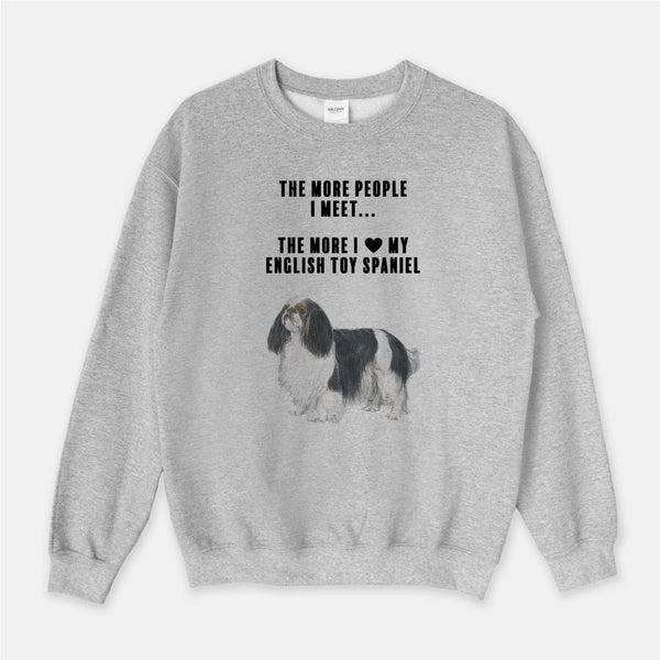 English Toy Spaniel Love Unisex Crew Neck Sweatshirt