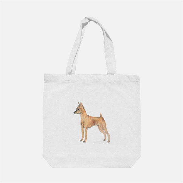 Miniature Pinscher Cotton Shopping Tote Bag with Gusset and Long Handles