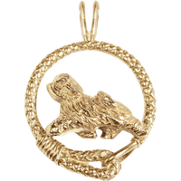 Solid 14K Gold Tibetan Terrier Leash Pendant