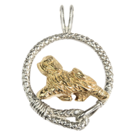 Solid 14K Gold Tibetan Terrier in Sterling Silver Leash Pendant