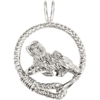 Tibetan Terrier in Solid Sterling Silver Leash Pendant