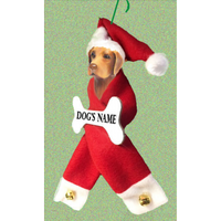 Vizsla Santa Bone Ornament