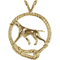 Solid 14K Gold Vizsla Leash Pendant