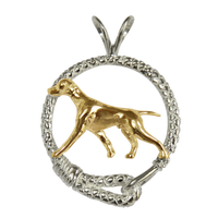 Solid 14K Gold Vizsla in Sterling Silver Leash Pendant